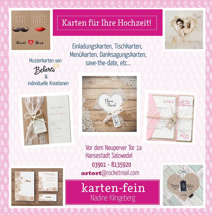 Karten Fein zur Hochzeit Hochzeitsmesse Salzwedel 22. Januar 2017 Kulturhaus Salzwedel